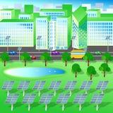 Grön stad, trädsjö, förnybara energikällor, solpaneler Stock Illustrationer