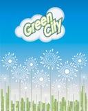 Grön stad, väg till framtiden, vektorillustration Arkivbilder