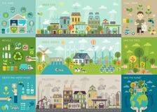 Grön stadsInfographic uppsättning med diagram och andra beståndsdelar stock illustrationer