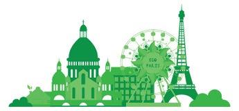 Grön stadskontur i plan design Eco Paris horisont Eco illustration för banret, klistermärkear Royaltyfri Bild