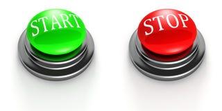 Grön START och röda STOPPknappar på white Royaltyfria Bilder