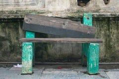 Grön stol på pasupatinathtemplet arkivfoto