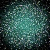 Grön storm med stjärnor och universum royaltyfri illustrationer