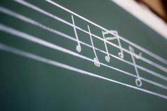 Grön svart tavla med musikaliska anmärkningar Undervisande musikaliska anmärkningar på gr Arkivbild