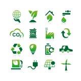 Grön symbol för miljö ECO Arkivfoto