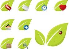 grön symbolsleafset Vektor Illustrationer