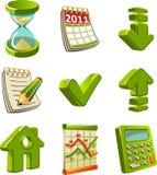 grön symbolsset Arkivbild