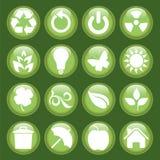 grön symbolsset royaltyfri illustrationer