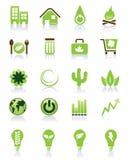 grön symbolsset stock illustrationer