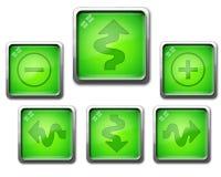 Grön symbolsuppsättning av glas- navigeringknappar Royaltyfria Foton