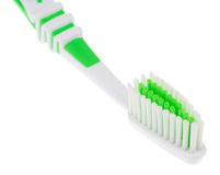 Grön tandborste Fotografering för Bildbyråer