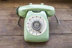 Grön tappningtelefon Arkivfoto
