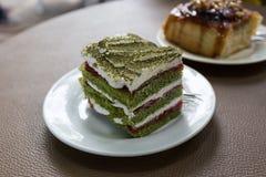 grön tea för cake Royaltyfri Fotografi
