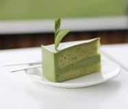 grön tea för cake arkivfoto