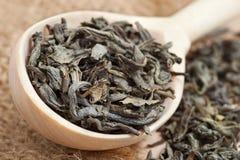 Grön tea i sked och tea lämnar Arkivfoto