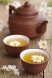Grön tea med chamomileblommor Arkivbild