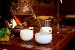 Grön tea med koppen och teapoten Royaltyfri Bild
