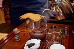 Grön tea med koppen och teapoten Royaltyfria Foton