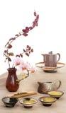 Grön tea och blommor Arkivfoton