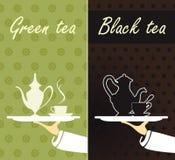 Grön tea och svart tea Royaltyfri Bild