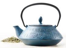 Grön tea och teapot Arkivbilder