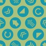 Grön Teal Arrow Circles Seamless Pattern för vektor bakgrund stock illustrationer