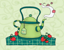 grön teapot Royaltyfri Illustrationer