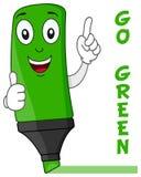 Grön tecknad filmHighlighter med tummar upp Royaltyfri Bild
