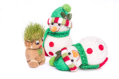 Grön Teddy And snögubbe Arkivfoto