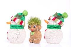 Grön Teddy And snögubbe Fotografering för Bildbyråer