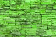 Grön tegelstenvägg Arkivbild