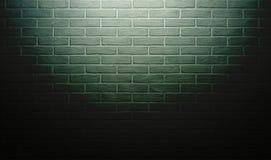 Grön tegelstenvägg med ljus effekt och skugga, abstrakt bakgrundsfoto Royaltyfri Foto
