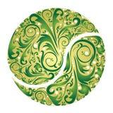Grön tennisboll med blom- prydnadar Arkivfoton