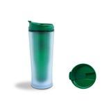 Grön Thermo kopp arkivfoton