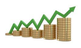 grön tillväxtlinje för finans Arkivbilder