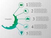Grön timeline som är infographic med logosymbols- och kopieringsutrymme Arkivfoton