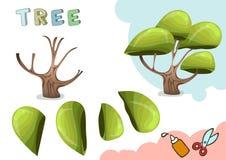 Grön trädpappersmodell Litet hem- hantverkprojekt, DIY-papperslek Klipp ut och limma Utklipp för barn vektor vektor illustrationer