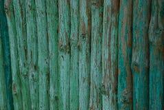 Grön trätextur av litet loggar in ett staket Royaltyfria Bilder