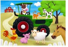 Grön traktor och många djur på min lantgård , illustration vektor illustrationer