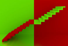 Grön trappa i den röda bakgrundsinre, 3d Royaltyfri Foto
