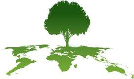 grön tree för kartbok stock illustrationer