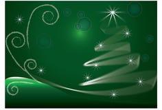 grön tree för kortjul Arkivfoton