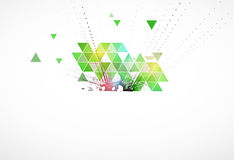Grön triangelekologiaffär och teknologibakgrund stock illustrationer