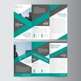 Grön trifold design för mall för reklamblad för årsrapportbroschyrbroschyr, abstrakta orienteringsmallar stock illustrationer