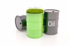 Grön trumma av bio bränsle arkivbild