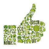Grön tumme upp med miljö- symboler Royaltyfri Fotografi