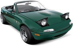 Grön two-seaterroadster med öppna billyktor vektor illustrationer