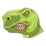 Grön tyrannosariehuvudmaskot vektor illustrationer
