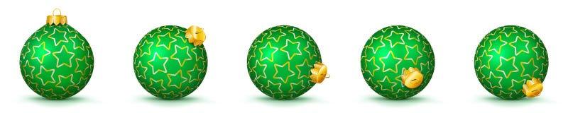 Grön uppsättning för vektorjulbollar med textur - struntsaker X-Mas stock illustrationer