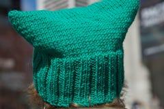 Grön utomhus- hattcloseup Arkivfoton